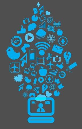 going down: Contenido moderno medios de comunicaci�n social de bajar a la computadora