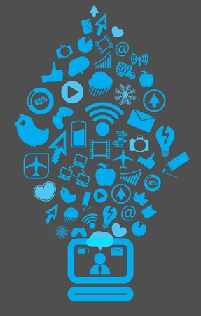 Modern social media content going down to the computer Stock Vector - 13506924