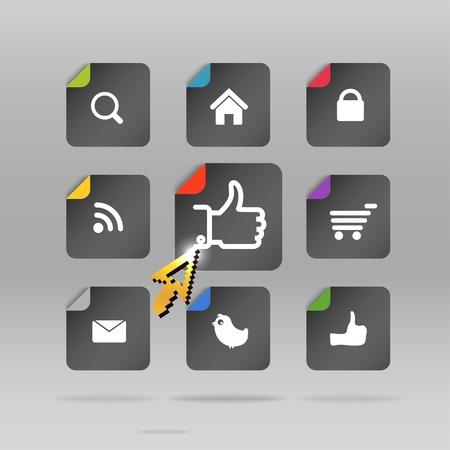 agregar: Modernos medios de comunicaci�n social botones de papel y la flecha que brilla intensamente