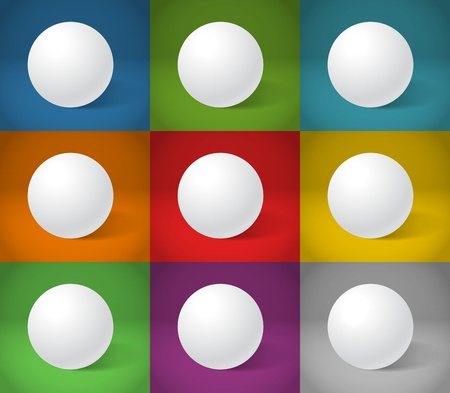 White sphere on different color backgrounds Stock Vector - 13506926