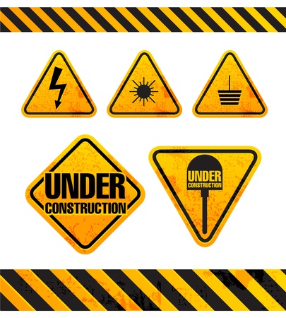 dangerous construction: Grunge danger signs collection isolated on white