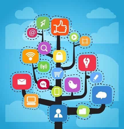 Moderno sistema de medios de comunicación social abstracta Ilustración de vector
