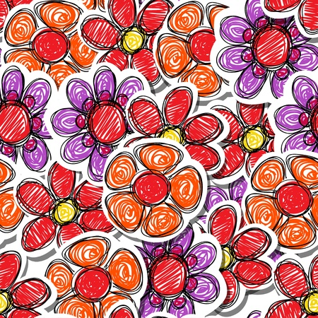 Red hand-drawn flowers seamless background Stock Vector - 13506921