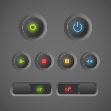 Glowing dark interface control buttons Vector