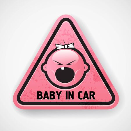 Car decal with the screamong baby s face   Vector