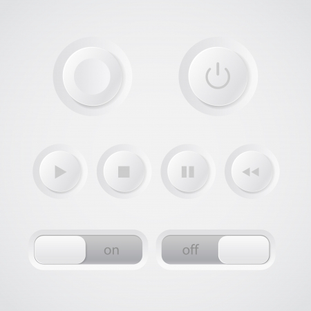 Web media player buttons collection Vector