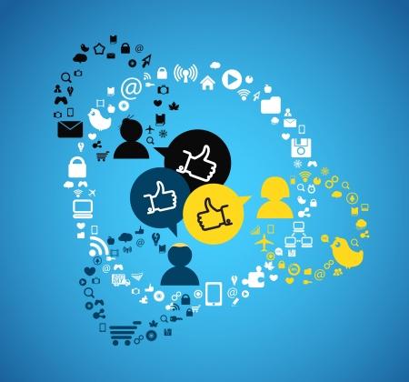 iconos de música: Los medios de comunicaci�n Personas conexiones esquema abstracto