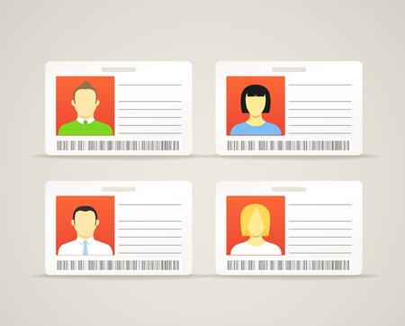 businesswoman card: Collection of an id cards with the cute persons Illustration