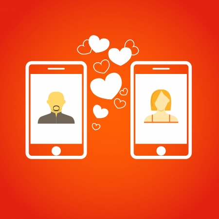 comunity: Two lovers communicatitng with the mobile phones  Abstract illustration Illustration