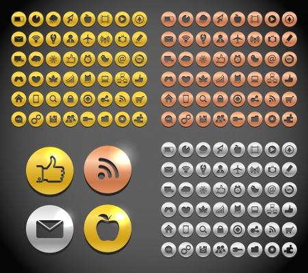 electronic scheme: Modern metallic social media icons collection Illustration