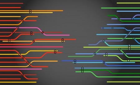railway points: Abstract color metro scheme background