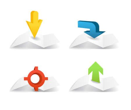 puntig: Papieren kaarten met spitse pijlen collectie