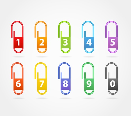 Color paper clips with digits Vector