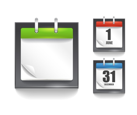 calendar icons: Paper diary template with the bending angle