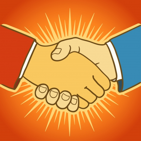 Illustration of two businessmen shaking hands  Good deal Vector