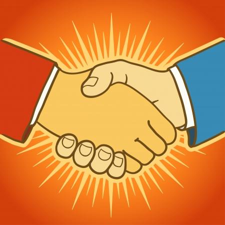 buen trato: Ilustraci�n de dos hombres de negocios apret�n de manos Buena oferta