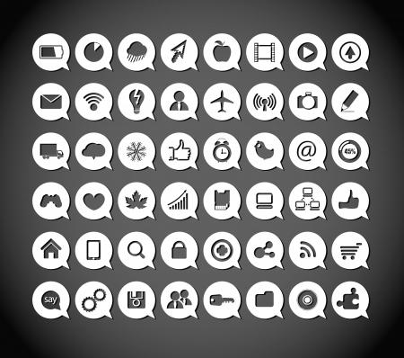 Papel de los medios en los iconos de las nubes Ilustración de vector
