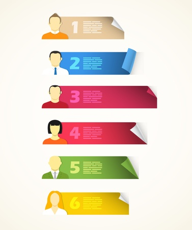 levels: Het verzamelen van kleur blanco vellen papier met avatar symbolen