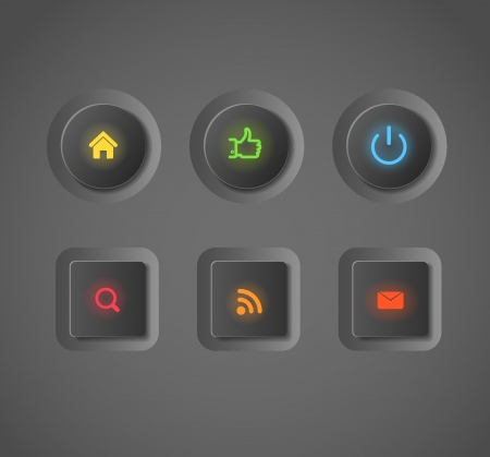 video player: Glowing dark interface social media buttons