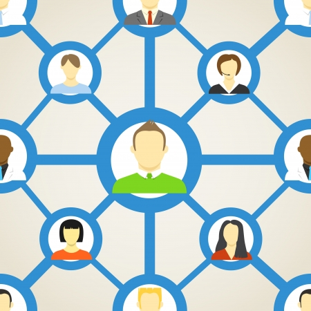 comunity: Seamless background of people on social network Illustration