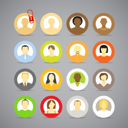 Collection of vector account icons of men and women  Different nationalities Vector