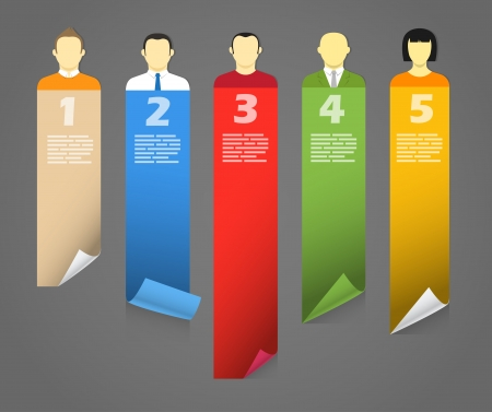 comunity: Color account avatars with bending paper banners  Template for a text Illustration