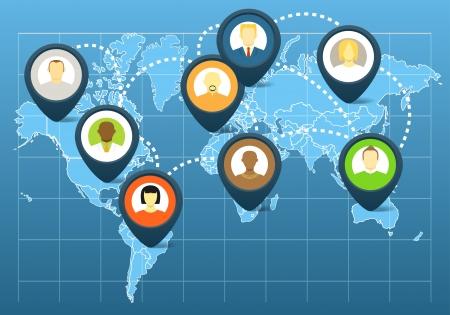 esquemas: Social en el mundo esquema de red en el mapa de la tierra