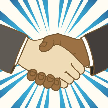 Illustration of two businessmen shaking hands  Good deal Stock Vector - 13718538