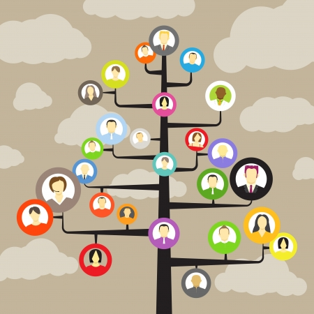 european community: Abstract community tree with avatars of members