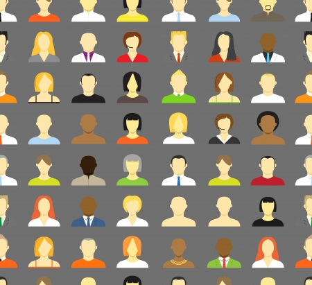 comunity: Collection of an account icons of men and women  Seamless background