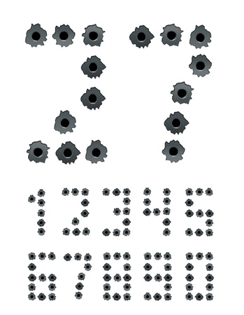 ricochet: Digits collected from gun bullet s holes  Isolated on white