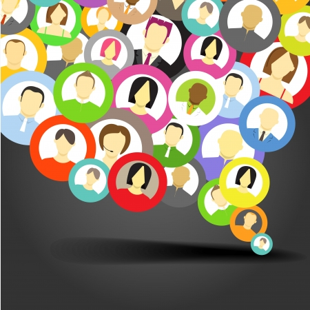 Abstract speech cloud of network avatars Stock Vector - 13803943