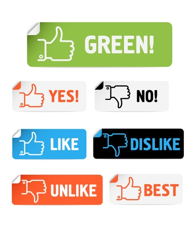Approval paper stickers collection isolated on white Vector