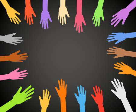 Color hands frame on black background Vector