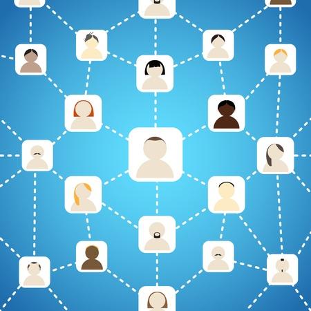 comunity: Scheme of social network on blue