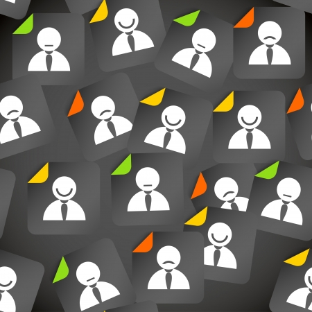 happy employee: Abstract crowd of social media account avatars  Seamless background