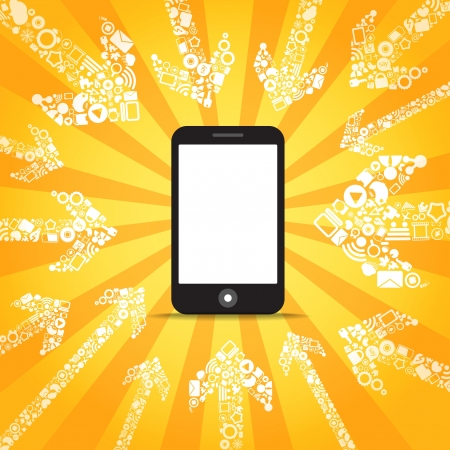 Media content goes to modern mobile phone  Template for a text Stock Vector - 13803962