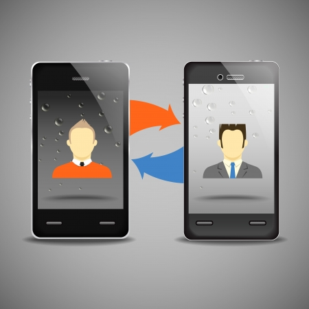 comunity: Two businessmen communicatitng with the mobile phones