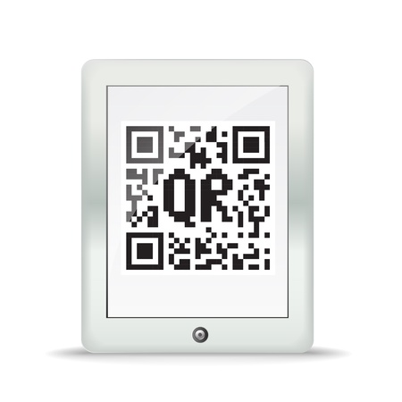 Monochrome abstract QR code in a maderd gadget Stock Vector - 13803939