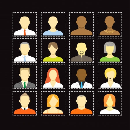 comunity: Collection of an account icons of men and women  Different nationalities