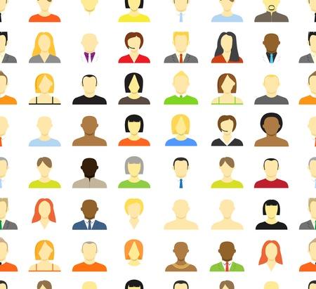 Het verzamelen van een account iconen van mannen en vrouwen Naadloze achtergrond