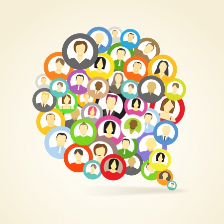 abstract family: Abstract speech cloud of network avatars Illustration