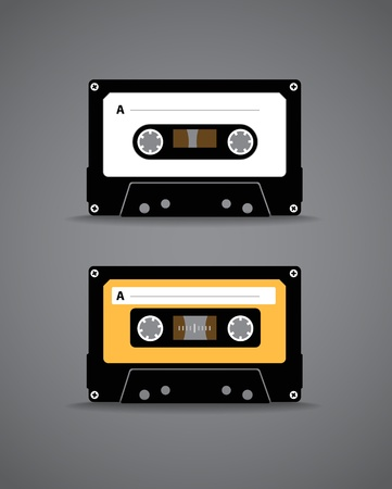 Vintage analogue music recordable cassette  Illustration Stock Vector - 13905943