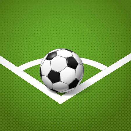 Soccer ball lying on the corner of the game field Vector
