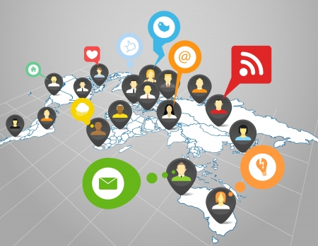 comunity: Social network scheme on the Earth map in perspective