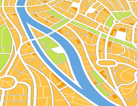 Abstract city map illustration in perspective Vector