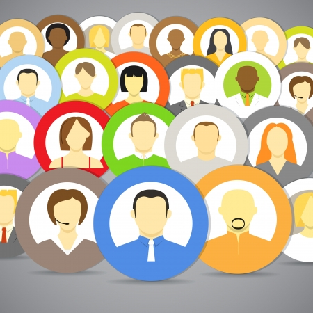 comunity: Collection of account icons of men and women  Different nationalities Illustration