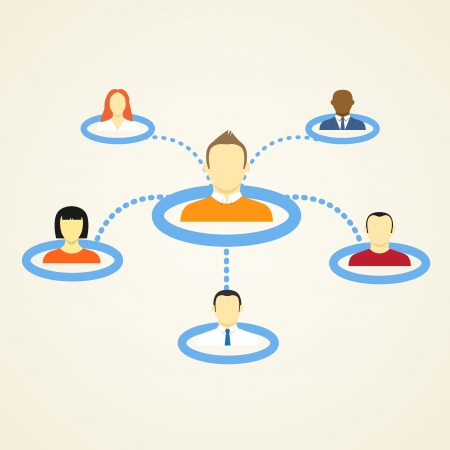 sihouette: Abstract Scheme of social network  Illustration