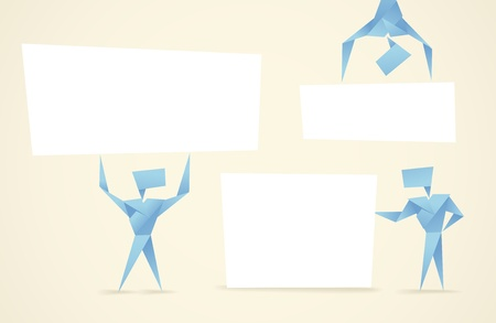 craft man: Abstract origami men with paper banners  Template for a text