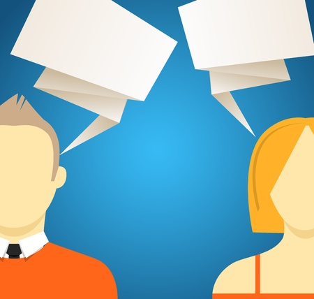 sillhouette: Talking people with speech clouds  Vector illustration